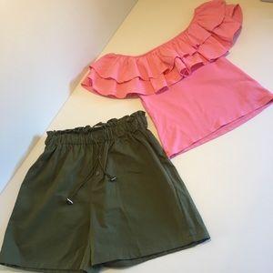 CHEEP paper bag shorts + H&M off shoulder top XS